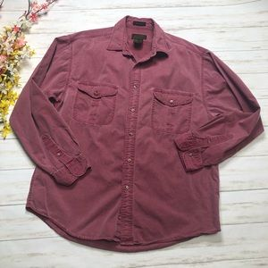 Eddie Bauer Red Long Sleeve Button Up Shirt